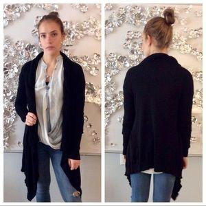 One A black hi-lo, knit cardigan, size S